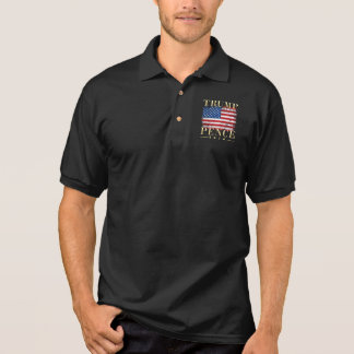 Vintage American Flag Gold Trump Pence 2016 Polo Shirt