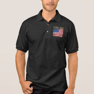 Vintage American Flag Gold Type Donald Trump 2016 Polo Shirt