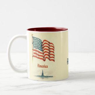 Vintage American Flag Gratitude Coffee Mug