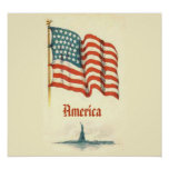 Vintage American Flag Gratitude Poster