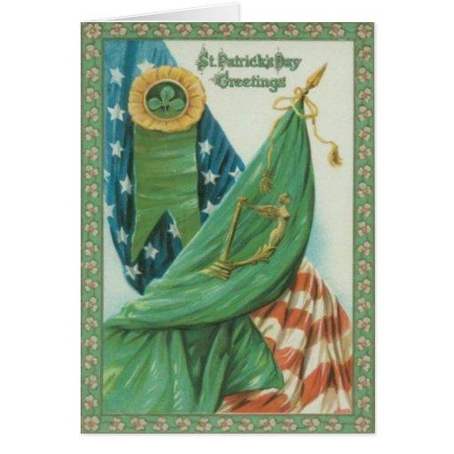 vintage american flag harp of erin st patrick 39 s card zazzle. Black Bedroom Furniture Sets. Home Design Ideas