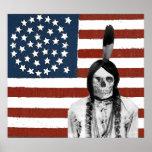vintage american flag indian skull poster