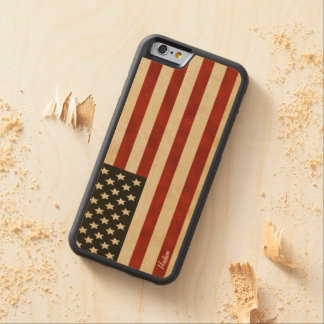 Vintage American Flag iPhone 6 Carved Maple iPhone 6 Bumper Case