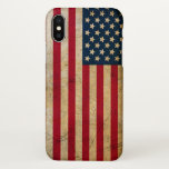 "Vintage American Flag iPhone X Case<br><div class=""desc"">Vintage American Flag Case Savvy Glossy Finish iPhone X Case. Protect your new phone with a 100% customizable case from Zazzle. Constructed from hardened polycarbonate,  then sealed with a high gloss finish that helps enrichs the color and depth of image,  this case helps protect without adding bulk.</div>"