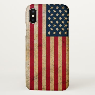 USA Themed Vintage American Flag iPhone X Case