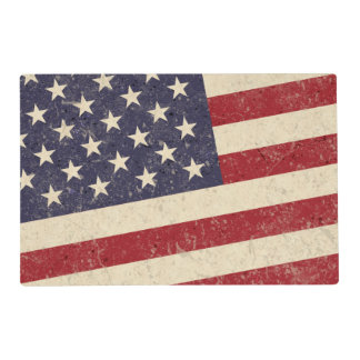 Vintage American Flag July 4th BBQ Faded Old Glory Placemat