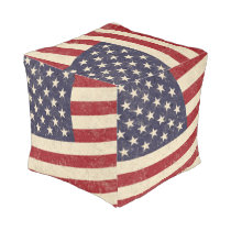 Vintage American Flag July 4th BBQ Faded Old Glory Pouf