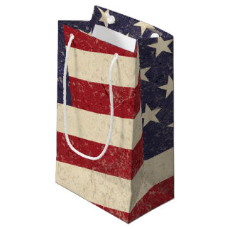 Vintage American Flag July 4th BBQ Faded Old Glory Small Gift Bag