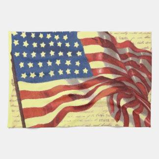 Vintage American Flag Hand Towels