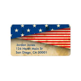 Vintage American Flag Label