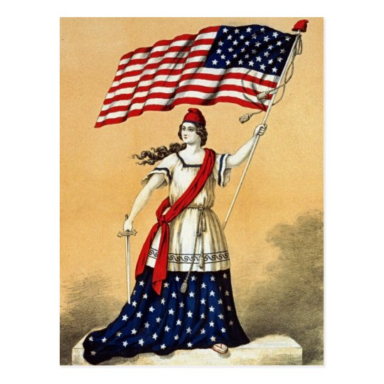 Vintage American Flag Lady Liberty Postcard