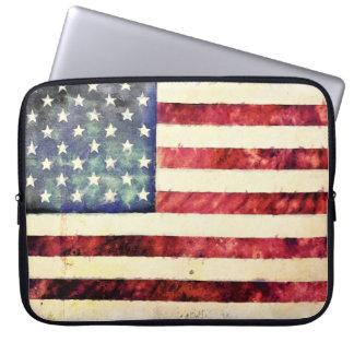 Vintage American Flag Laptop Computer Sleeve