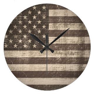 Vintage American Flag Large Clock