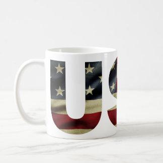 Vintage American Flag Classic White Coffee Mug