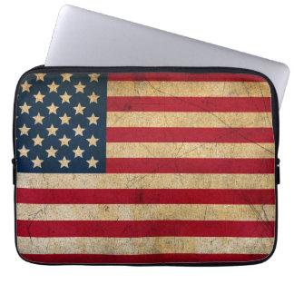 Vintage American Flag Neoprene Laptop Sleeve