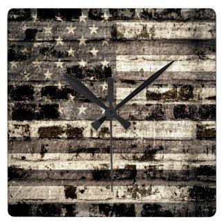 Vintage American Flag on Old Brick Wall Square Wallclocks