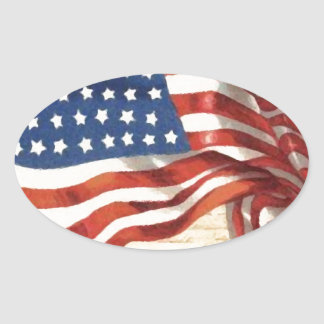 Vintage American Flag Oval Sticker