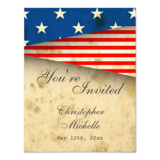 Vintage American Flag Patriotic USA Wedding Card