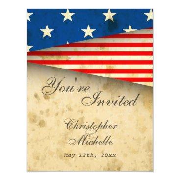 HorseAndPony Vintage American Flag Patriotic USA Wedding Invite