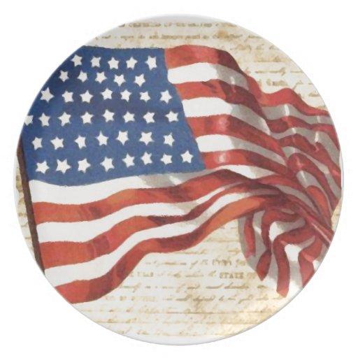 Vintage American Flag Plates