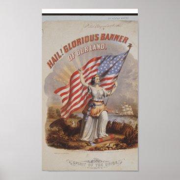 USA Themed Vintage American Flag Poster