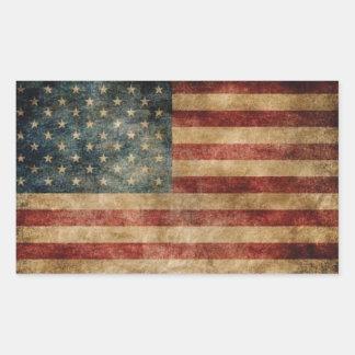 Vintage American Flag Rectangular Sticker