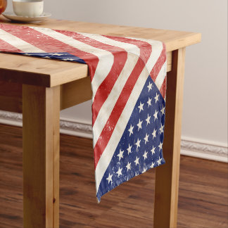 Vintage American Flag Short Table Runner