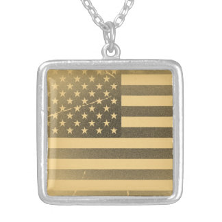 Vintage American Flag Silver Plated Necklace