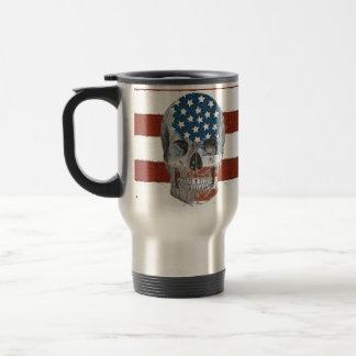 Vintage American Flag Skull Travel Mug