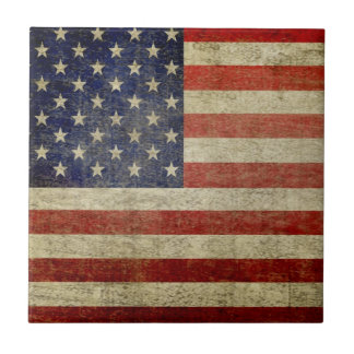 Vintage American Flag Small Square Tile