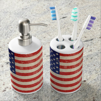 Vintage American Flag Soap Dispenser And Toothbrush Holder