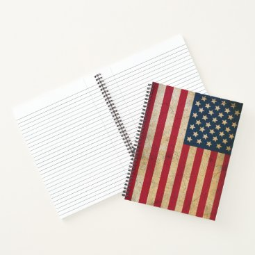 USA Themed Vintage American Flag Spiral Notebook