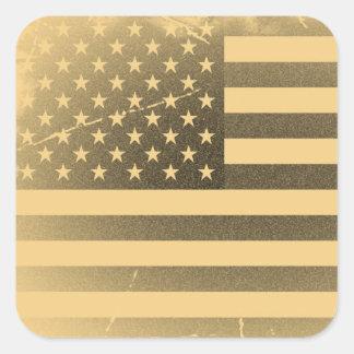 Vintage American Flag Square Sticker