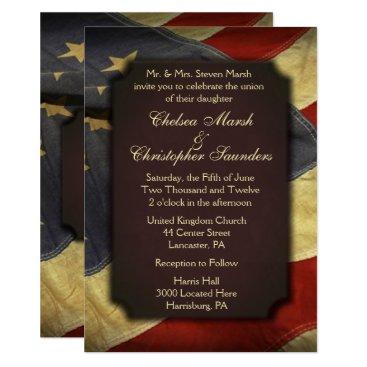 Vintage American Flag Text Wedding Invitations