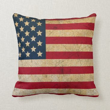 USA Themed Vintage American Flag Throw Pillow