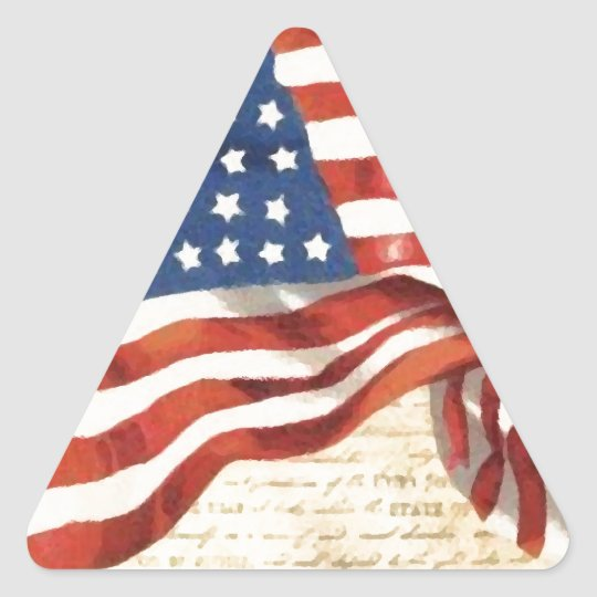Vintage American Flag Triangle Sticker