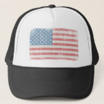 """Vintage American Flag Trucker Hat<br><div class=""""desc"""">Distressed American Flag. O beautiful for spacious skies,  For amber waves of grain,  For purple mountain majesties Above the fruited plain! America! America! God shed His grace on thee,  And crown thy good with brotherhood From sea to shining sea!</div>"""