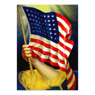 Vintage American Flag USA, 4th of July Card