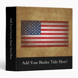 Vintage American Flag w/Custom Text 3 Ring Binders