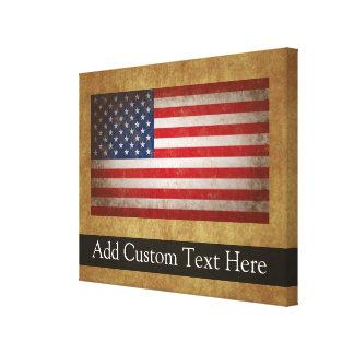 Vintage American Flag w/Custom Text Canvas Print
