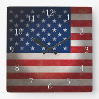 Vintage American Flag w/Custom Text Clock