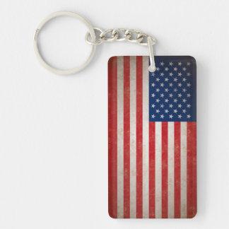 Vintage American Flag w/Custom Text Double-Sided Rectangular Acrylic Keychain