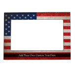 Vintage American Flag w/Custom Text Picture Frame Magnets