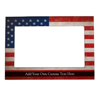 Vintage American Flag w/Custom Text Magnetic Frame