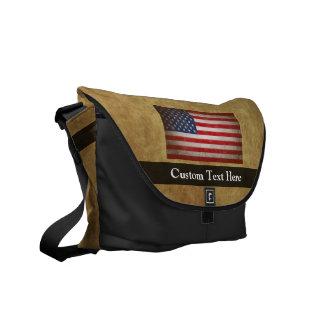 Vintage American Flag w/Custom Text Messenger Bag