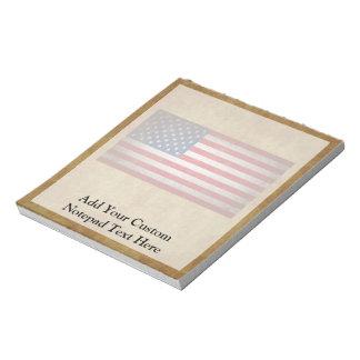 Vintage American Flag w/Custom Text Memo Pad