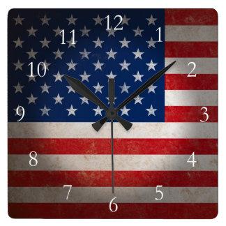 Vintage American Flag w/Custom Text Square Wall Clock