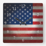 Vintage American Flag w/Custom Text Square Wallclocks