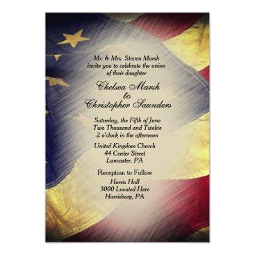 Vintage American Flag Wedding Invitation