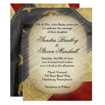 USA Themed Vintage American Flag Wedding Invitations